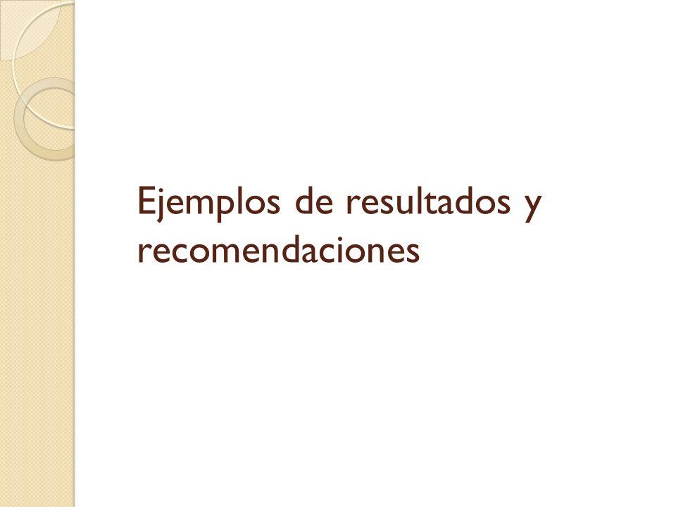 Ejemplos de resultados y recomendaciones