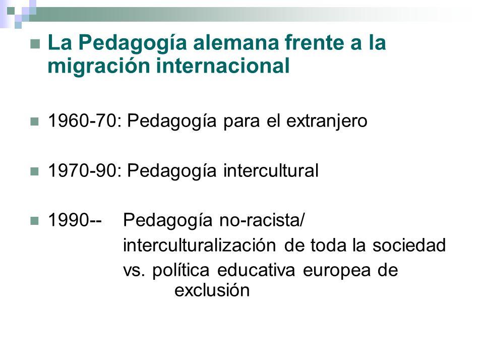 La Pedagogía alemana frente a la migración internacional 1960-70: Pedagogía para el extranjero 1970-90: Pedagogía intercultural 1990-- Pedagogía no-ra