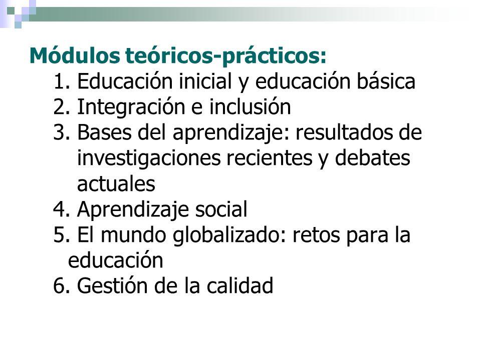 Módulos teóricos-prácticos: 1.Educación inicial y educación básica 2.Integración e inclusión 3.Bases del aprendizaje: resultados de investigaciones re