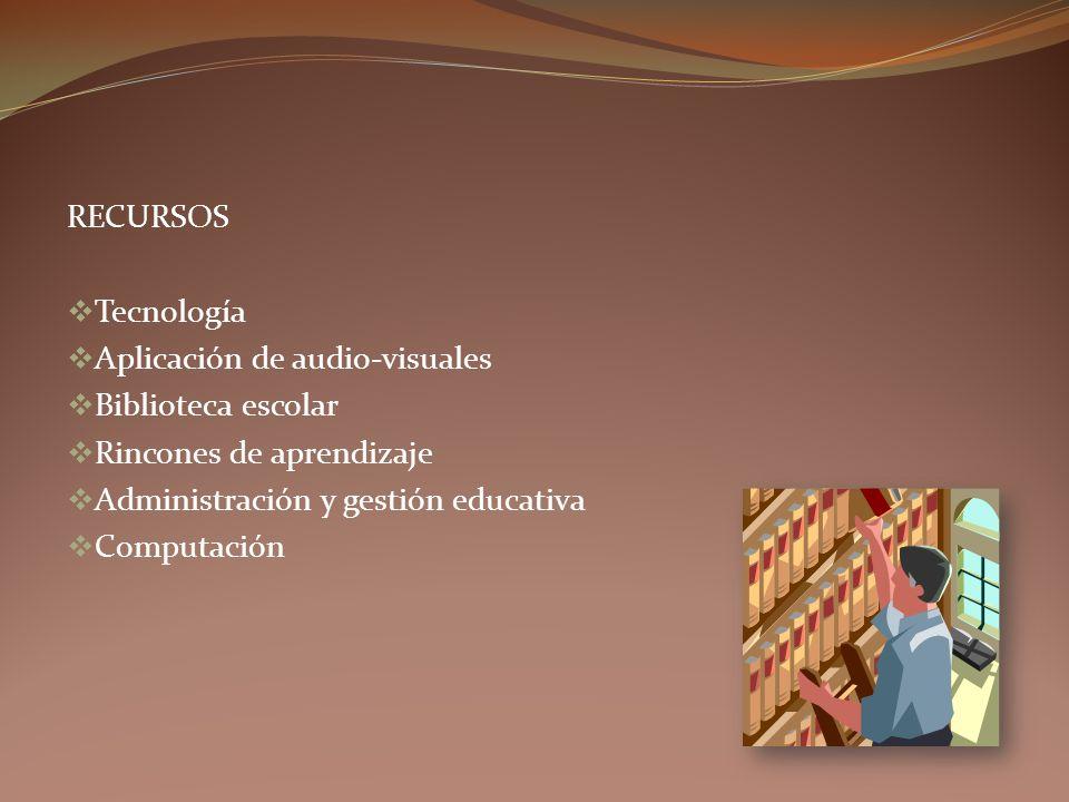 RECURSOS Tecnología Aplicación de audio-visuales Biblioteca escolar Rincones de aprendizaje Administración y gestión educativa Computación