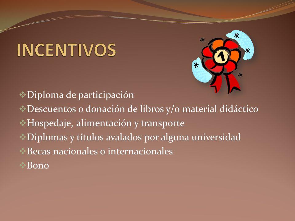 Diploma de participación Descuentos o donación de libros y/o material didáctico Hospedaje, alimentación y transporte Diplomas y títulos avalados por alguna universidad Becas nacionales o internacionales Bono