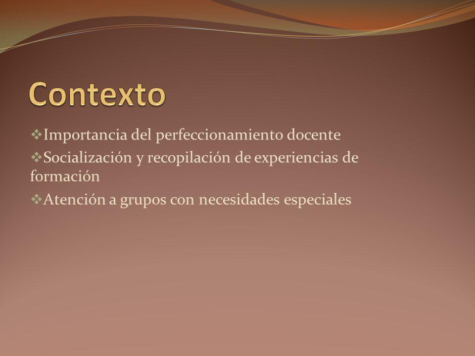 Importancia del perfeccionamiento docente Socialización y recopilación de experiencias de formación Atención a grupos con necesidades especiales