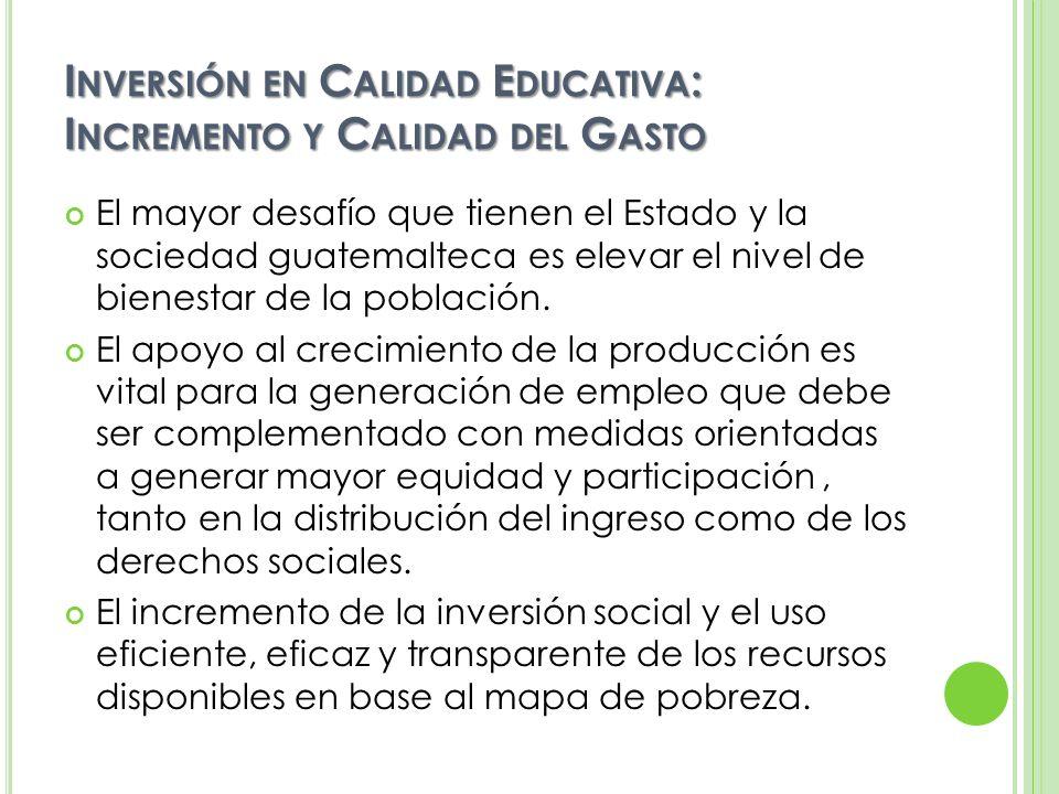 INVERSIÓN EN CALIDAD EDUCATIVA PRESUPUESTO NACIONAL: FACTOR CLAVE PARA FAVORECER UNA EDUCACIÓN DE CALIDAD