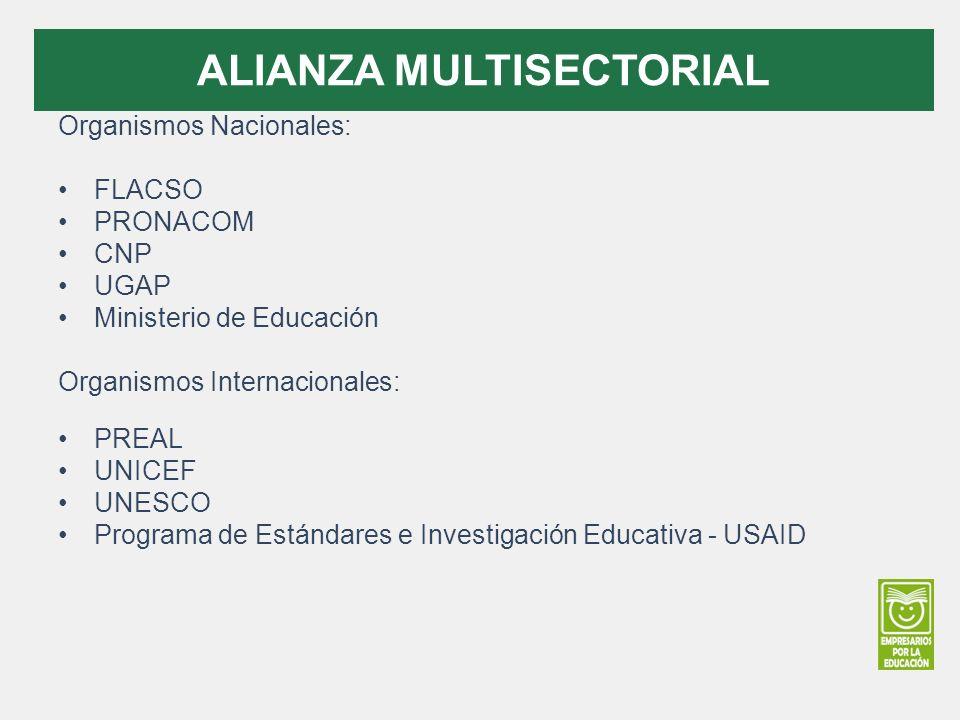 Organismos Nacionales: FLACSO PRONACOM CNP UGAP Ministerio de Educación Organismos Internacionales: PREAL UNICEF UNESCO Programa de Estándares e Investigación Educativa - USAID ALIANZA MULTISECTORIAL