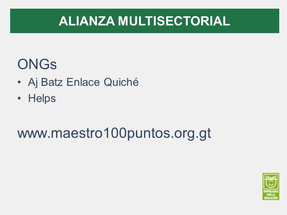 ONGs Aj Batz Enlace Quiché Helps www.maestro100puntos.org.gt ALIANZA MULTISECTORIAL