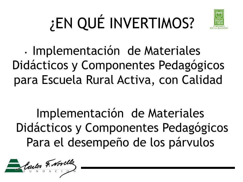 ¿EN QUÉ INVERTIMOS?. Implementación de Materiales Didácticos y Componentes Pedagógicos para Escuela Rural Activa, con Calidad Implementación de Materi