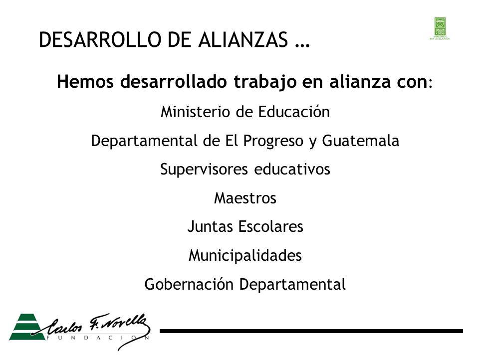 DESARROLLO DE ALIANZAS … Hemos desarrollado trabajo en alianza con : Ministerio de Educación Departamental de El Progreso y Guatemala Supervisores educativos Maestros Juntas Escolares Municipalidades Gobernación Departamental
