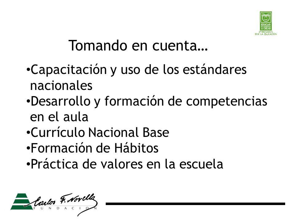 Tomando en cuenta… Capacitación y uso de los estándares nacionales Desarrollo y formación de competencias en el aula Currículo Nacional Base Formación