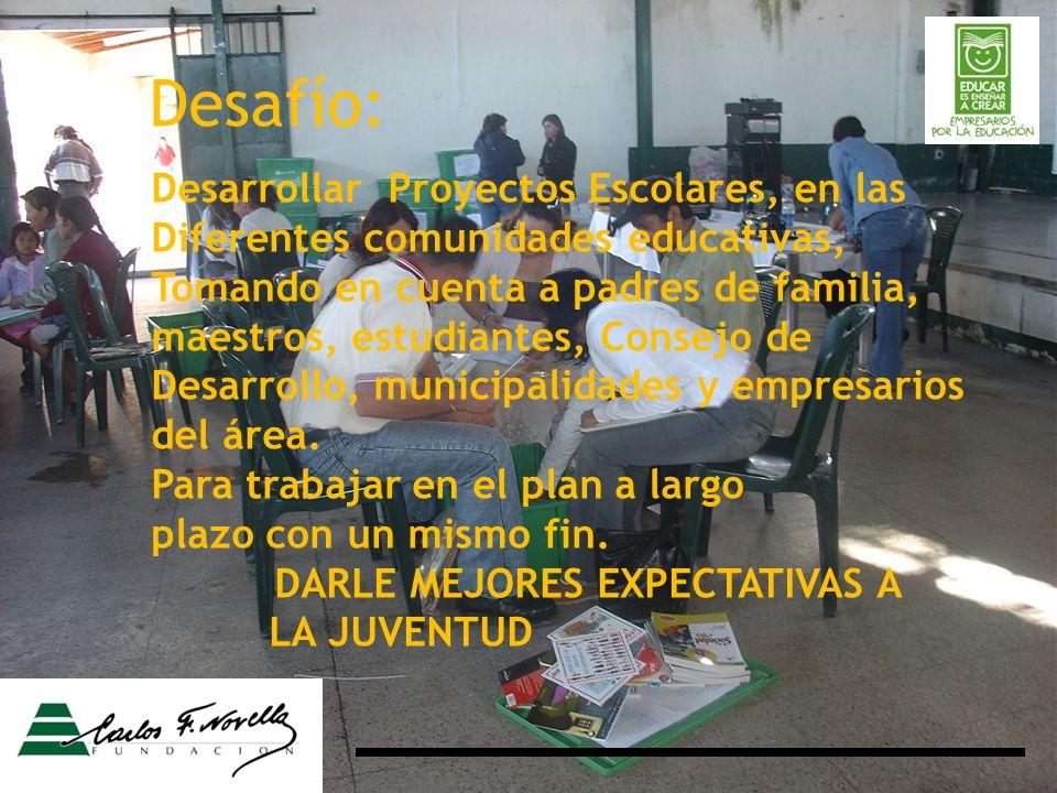 Desarrollar Proyectos Escolares, en las Diferentes comunidades educativas, Tomando en cuenta a padres de familia, maestros, estudiantes, Consejo de Desarrollo, municipalidades y empresarios del área.