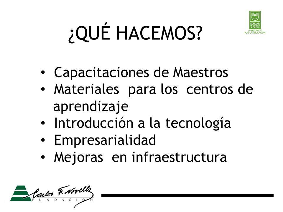 Capacitaciones de Maestros Materiales para los centros de aprendizaje Introducción a la tecnología Empresarialidad Mejoras en infraestructura ¿QUÉ HACEMOS