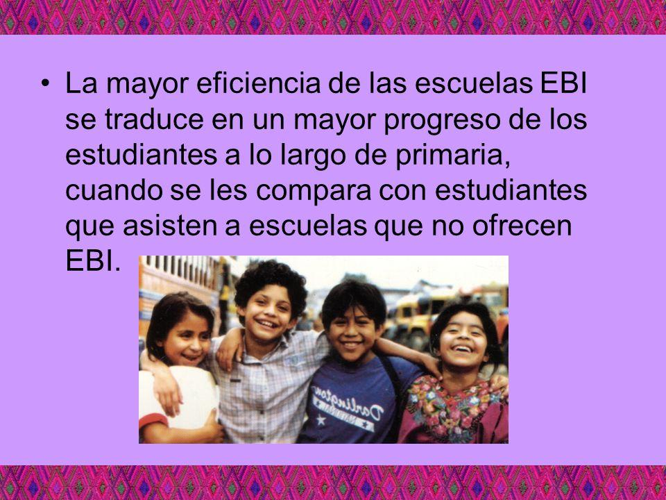 La mayor eficiencia de las escuelas EBI se traduce en un mayor progreso de los estudiantes a lo largo de primaria, cuando se les compara con estudiant