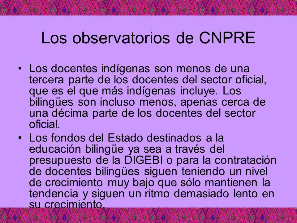 Los observatorios de CNPRE Los docentes indígenas son menos de una tercera parte de los docentes del sector oficial, que es el que más indígenas inclu