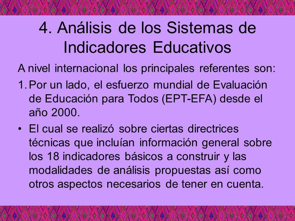 4. Análisis de los Sistemas de Indicadores Educativos A nivel internacional los principales referentes son: 1.Por un lado, el esfuerzo mundial de Eval