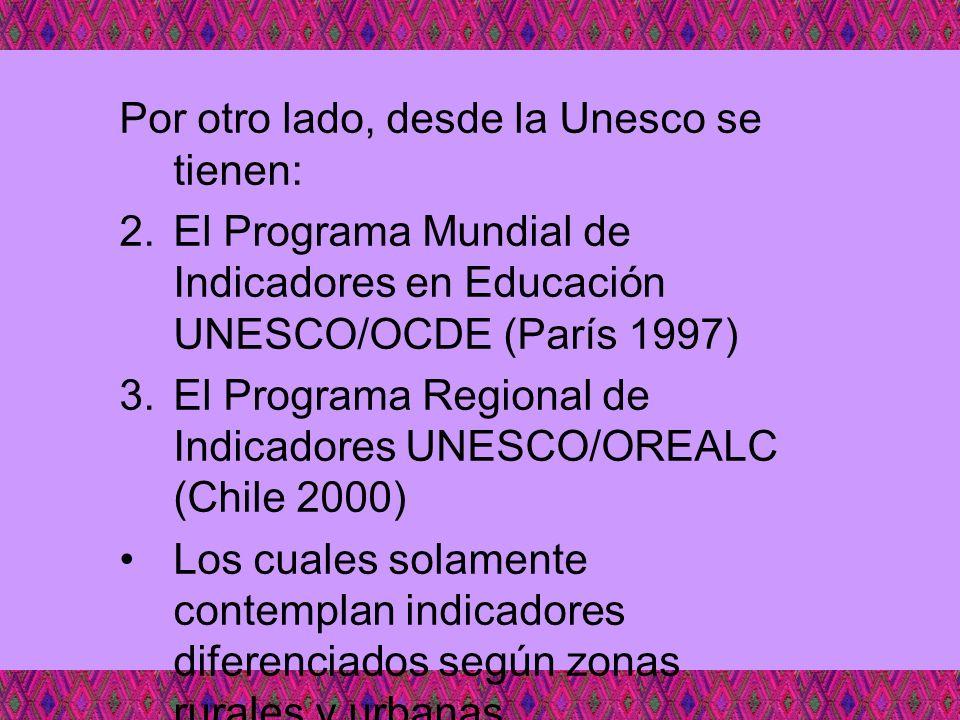 Por otro lado, desde la Unesco se tienen: 2.El Programa Mundial de Indicadores en Educación UNESCO/OCDE (París 1997) 3.El Programa Regional de Indicad