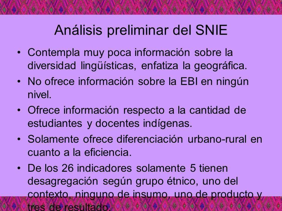 Análisis preliminar del SNIE Contempla muy poca información sobre la diversidad lingüísticas, enfatiza la geográfica. No ofrece información sobre la E