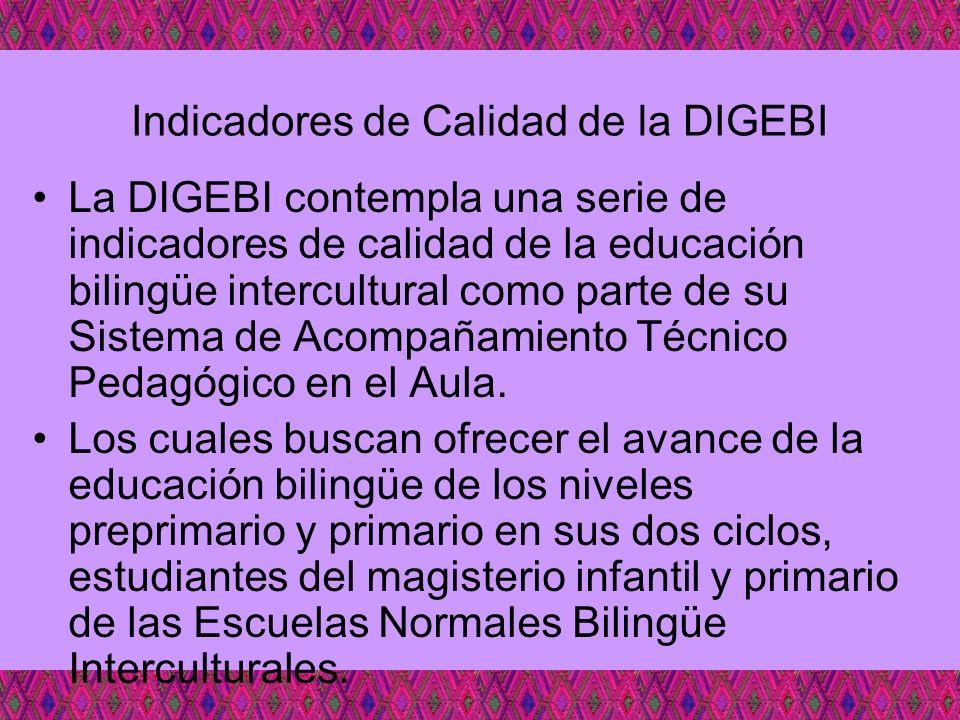 Indicadores de Calidad de la DIGEBI La DIGEBI contempla una serie de indicadores de calidad de la educación bilingüe intercultural como parte de su Si