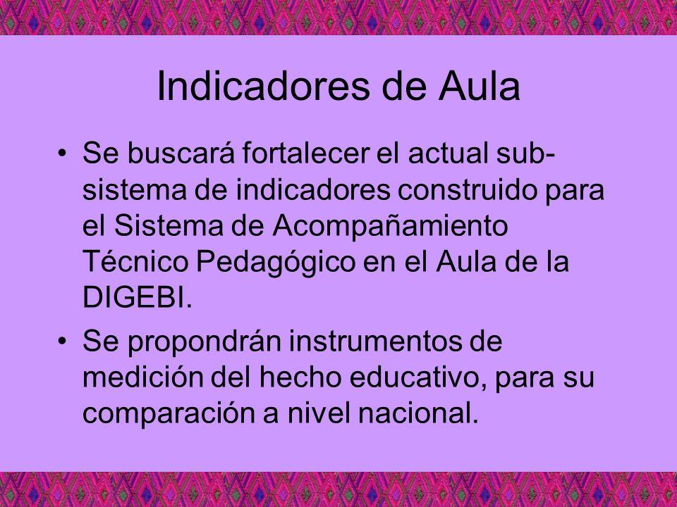 Indicadores de Aula Se buscará fortalecer el actual sub- sistema de indicadores construido para el Sistema de Acompañamiento Técnico Pedagógico en el