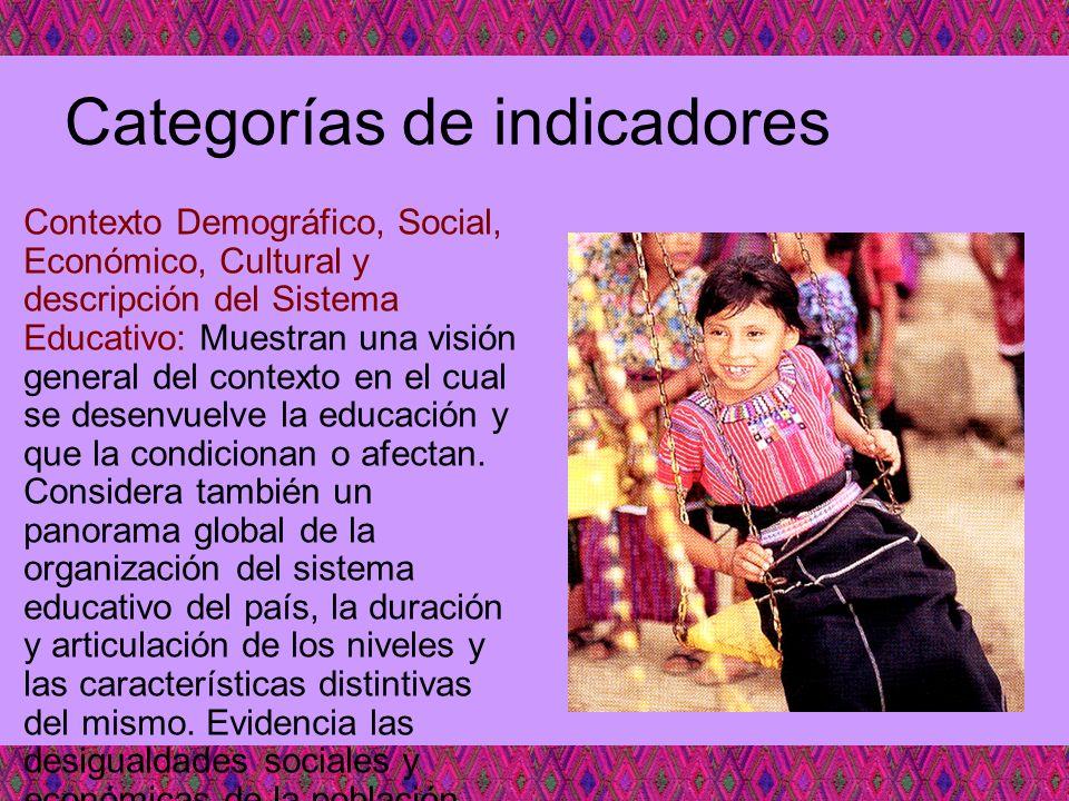 Categorías de indicadores Contexto Demográfico, Social, Económico, Cultural y descripción del Sistema Educativo: Muestran una visión general del conte