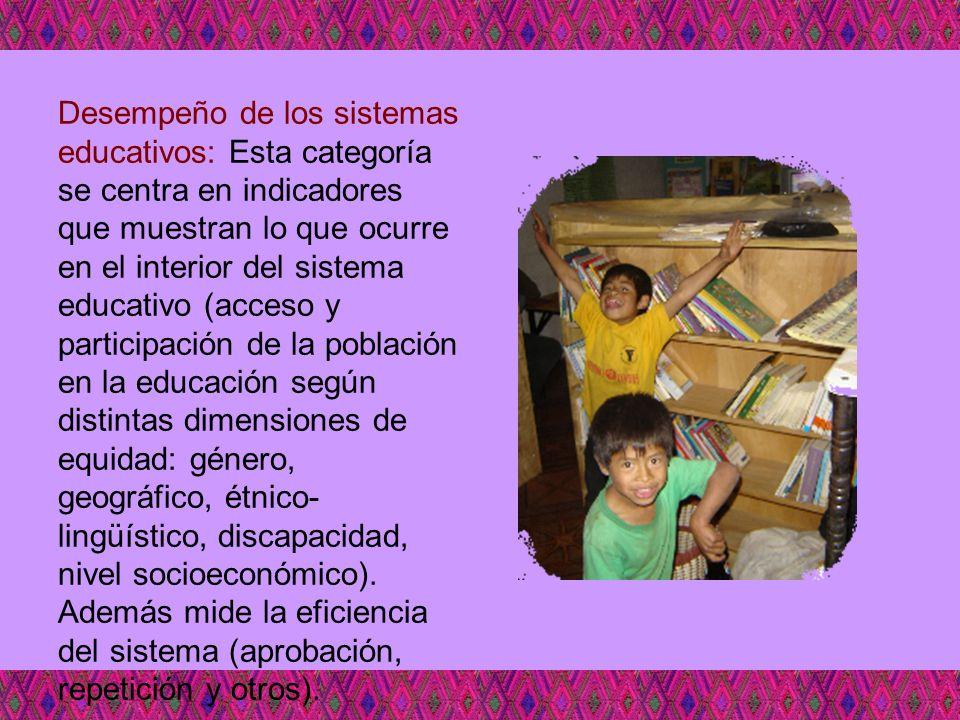 Desempeño de los sistemas educativos: Esta categoría se centra en indicadores que muestran lo que ocurre en el interior del sistema educativo (acceso