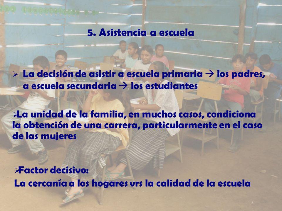 5. Asistencia a escuela La decisión de asistir a escuela primaria los padres, a escuela secundaria los estudiantes La unidad de la familia, en muchos