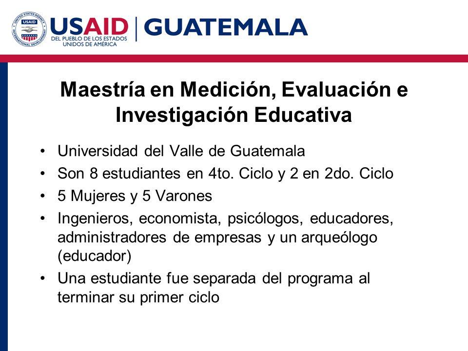 Maestría en Medición, Evaluación e Investigación Educativa Universidad del Valle de Guatemala Son 8 estudiantes en 4to. Ciclo y 2 en 2do. Ciclo 5 Muje
