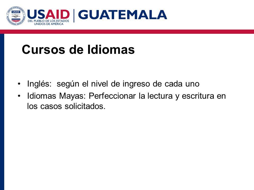 Cursos de Idiomas Inglés: según el nivel de ingreso de cada uno Idiomas Mayas: Perfeccionar la lectura y escritura en los casos solicitados.