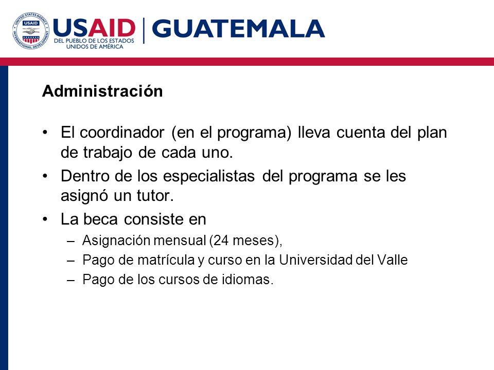 Administración El coordinador (en el programa) lleva cuenta del plan de trabajo de cada uno. Dentro de los especialistas del programa se les asignó un