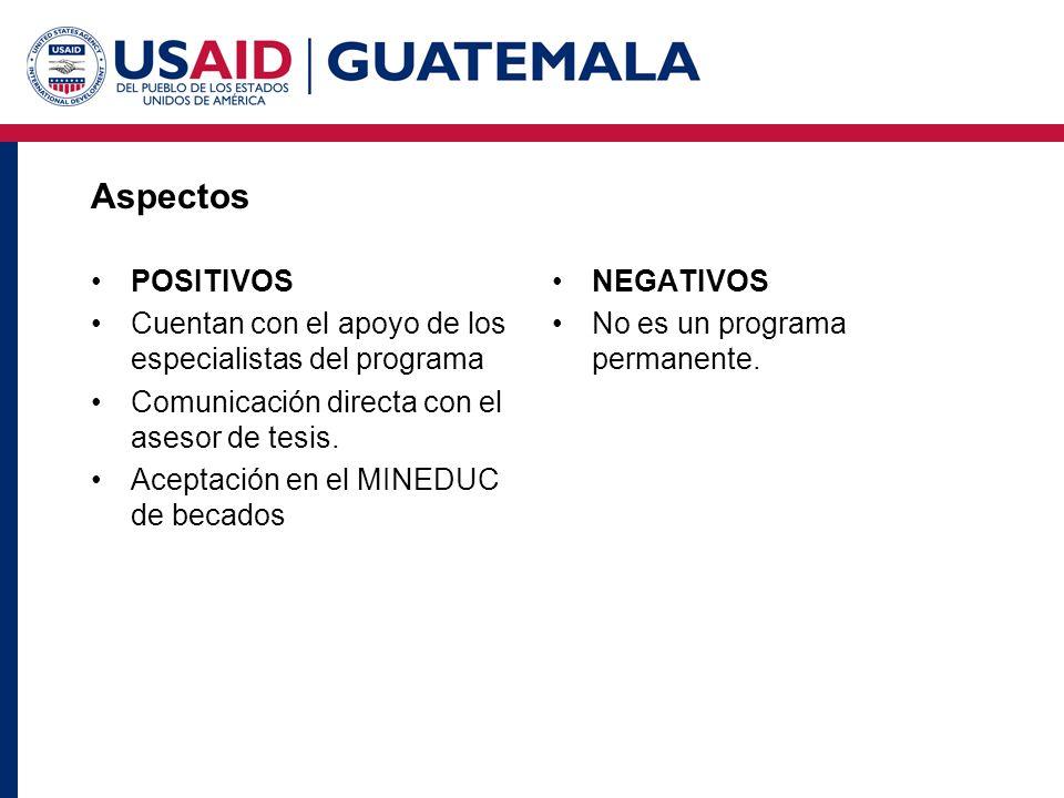 Aspectos POSITIVOS Cuentan con el apoyo de los especialistas del programa Comunicación directa con el asesor de tesis. Aceptación en el MINEDUC de bec