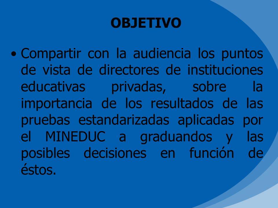 OBJETIVO Compartir con la audiencia los puntos de vista de directores de instituciones educativas privadas, sobre la importancia de los resultados de las pruebas estandarizadas aplicadas por el MINEDUC a graduandos y las posibles decisiones en función de éstos.