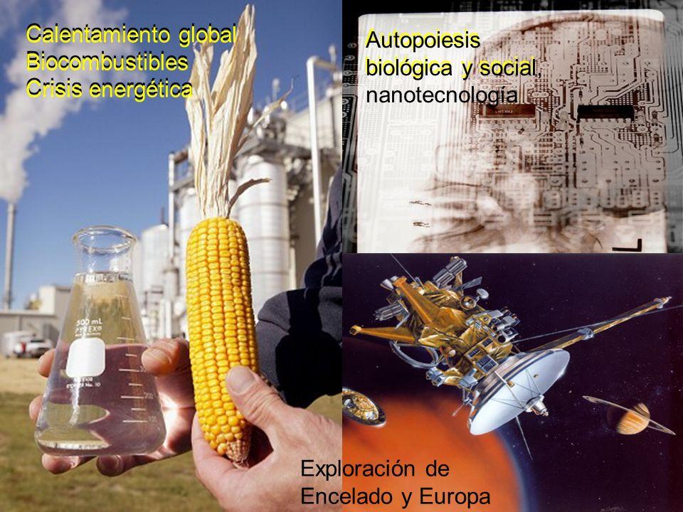 Células madre Calentamiento global Biocombustibles Crisis energética Calentamiento global Biocombustibles Crisis energética Autopoiesis biológica y social Autopoiesis biológica y social, nanotecnología Exploración de Encelado y Europa