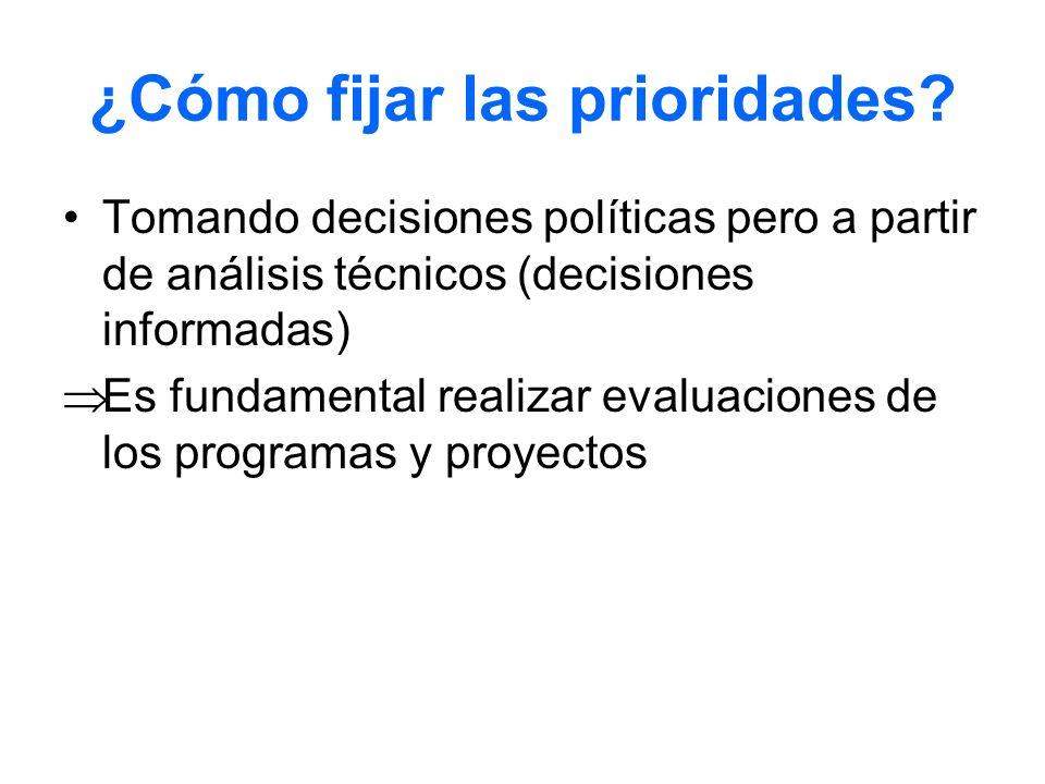 ¿Cómo fijar las prioridades? Tomando decisiones políticas pero a partir de análisis técnicos (decisiones informadas) Es fundamental realizar evaluacio