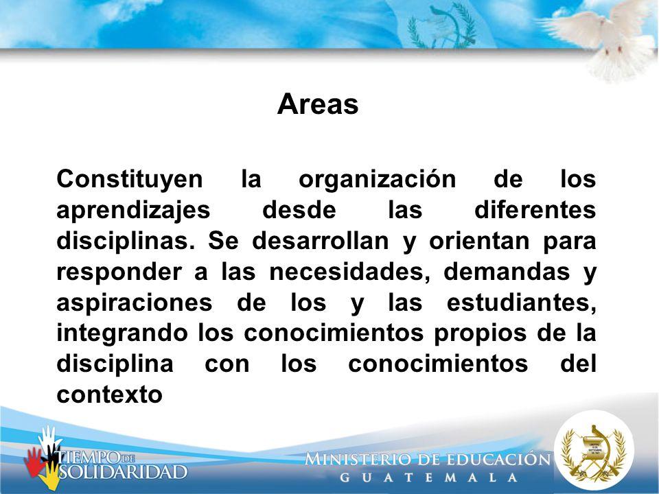 Areas Constituyen la organización de los aprendizajes desde las diferentes disciplinas. Se desarrollan y orientan para responder a las necesidades, de