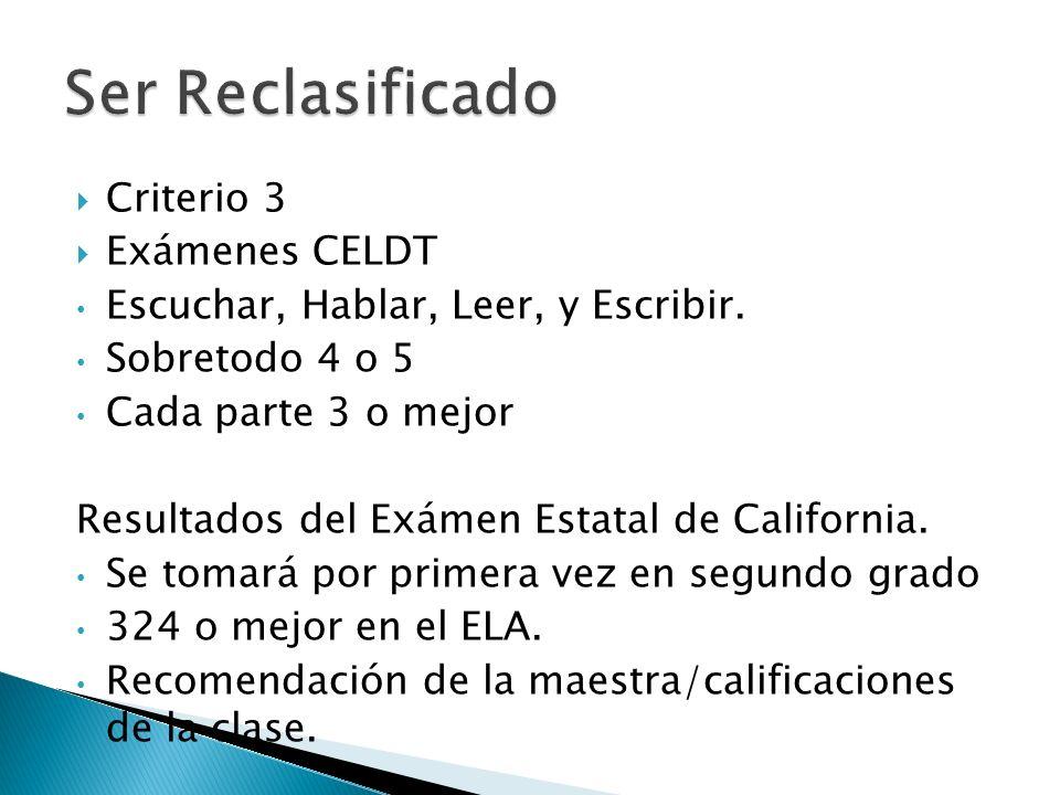 Criterio 3 Exámenes CELDT Escuchar, Hablar, Leer, y Escribir. Sobretodo 4 o 5 Cada parte 3 o mejor Resultados del Exámen Estatal de California. Se tom