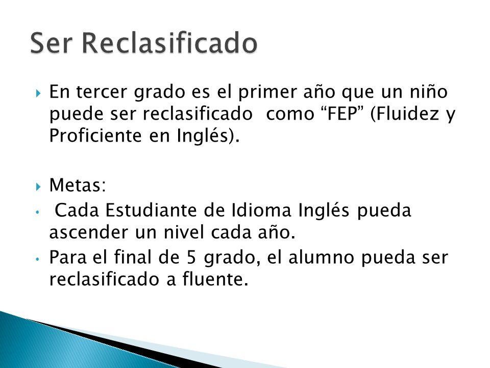 En tercer grado es el primer año que un niño puede ser reclasificado como FEP (Fluidez y Proficiente en Inglés). Metas: Cada Estudiante de Idioma Ingl