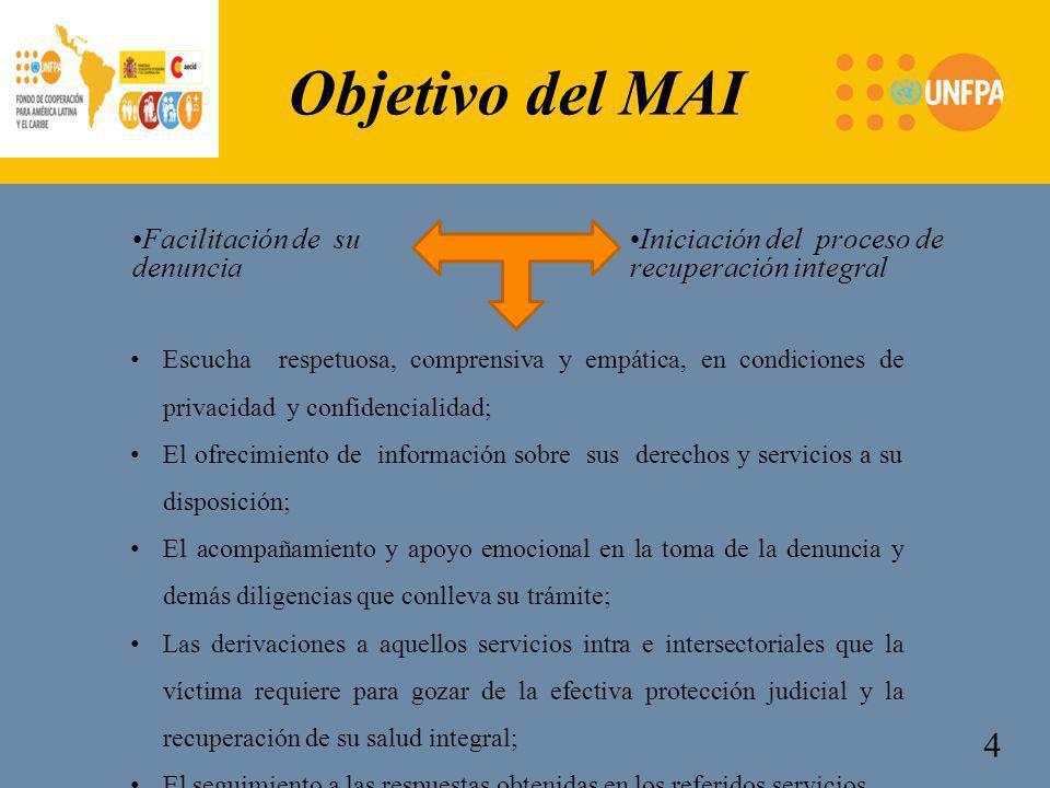 Facilitación de su denuncia Iniciación del proceso de recuperación integral 4 Objetivo del MAI Escucha respetuosa, comprensiva y empática, en condicio