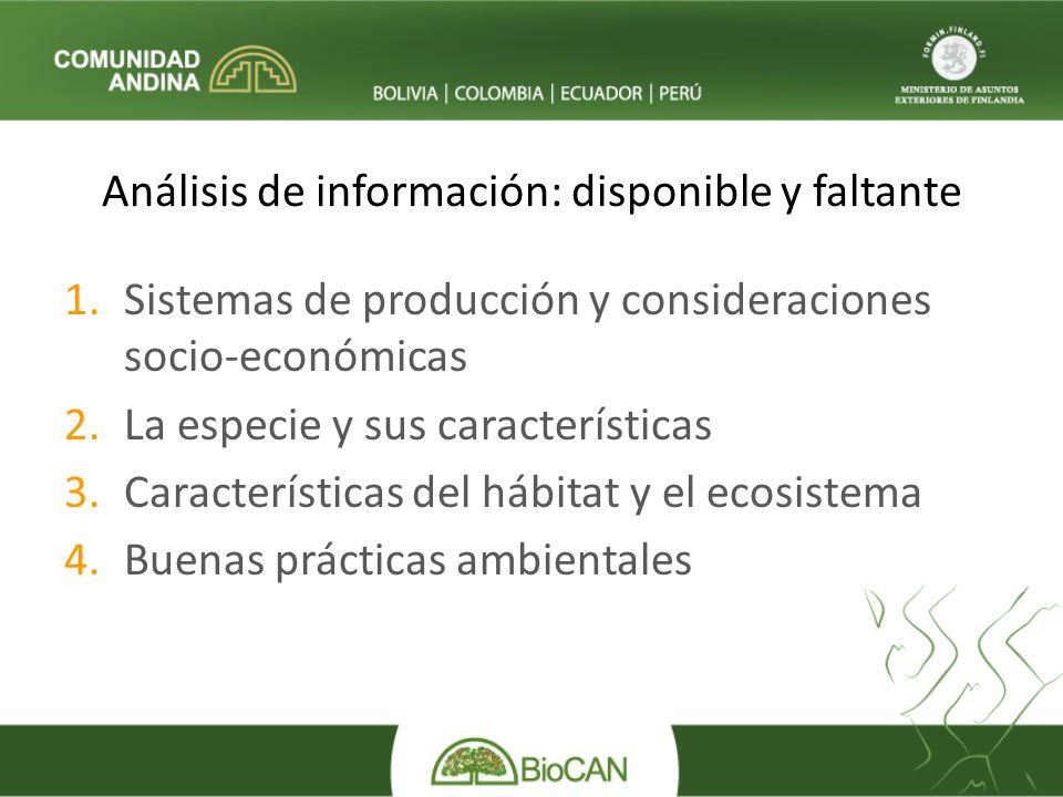 Análisis de información: disponible y faltante 1.Sistemas de producción y consideraciones socio-económicas 2.La especie y sus características 3.Características del hábitat y el ecosistema 4.Buenas prácticas ambientales