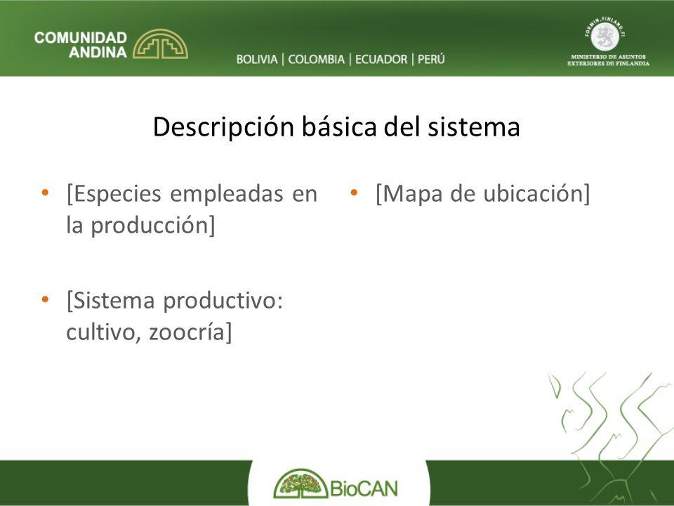 Descripción básica del sistema [Especies empleadas en la producción] [Sistema productivo: cultivo, zoocría] [Mapa de ubicación]