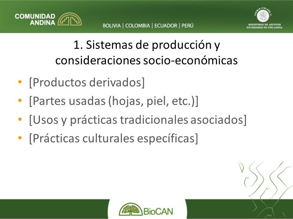 1. Sistemas de producción y consideraciones socio-económicas [Productos derivados] [Partes usadas (hojas, piel, etc.)] [Usos y prácticas tradicionales