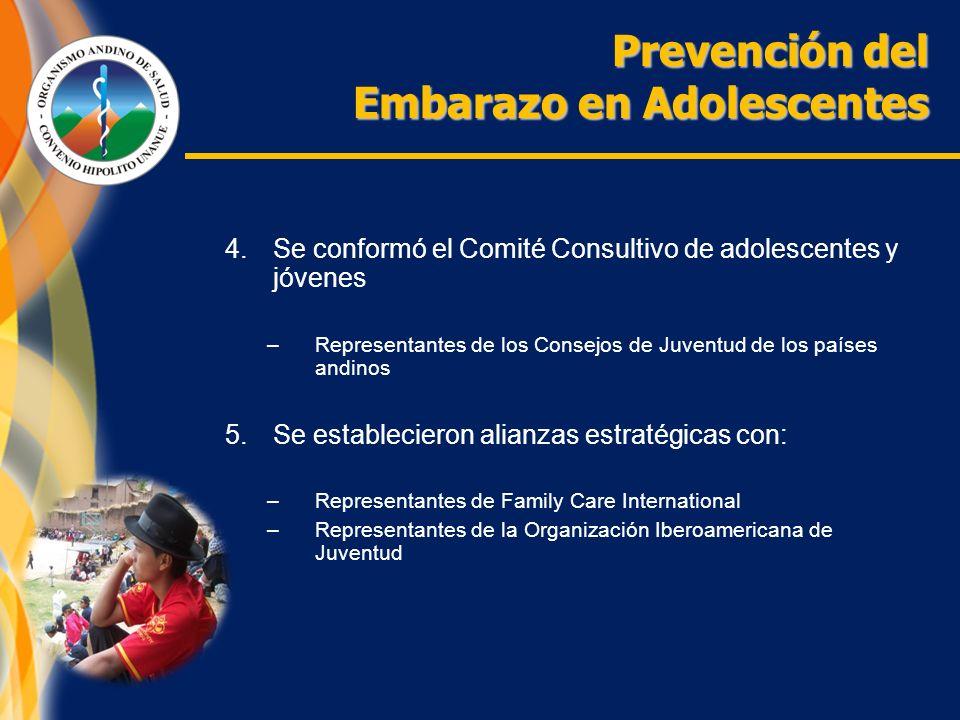 Prevención del Embarazo en Adolescentes 4.Se conformó el Comité Consultivo de adolescentes y jóvenes –Representantes de los Consejos de Juventud de los países andinos 5.Se establecieron alianzas estratégicas con: –Representantes de Family Care International –Representantes de la Organización Iberoamericana de Juventud