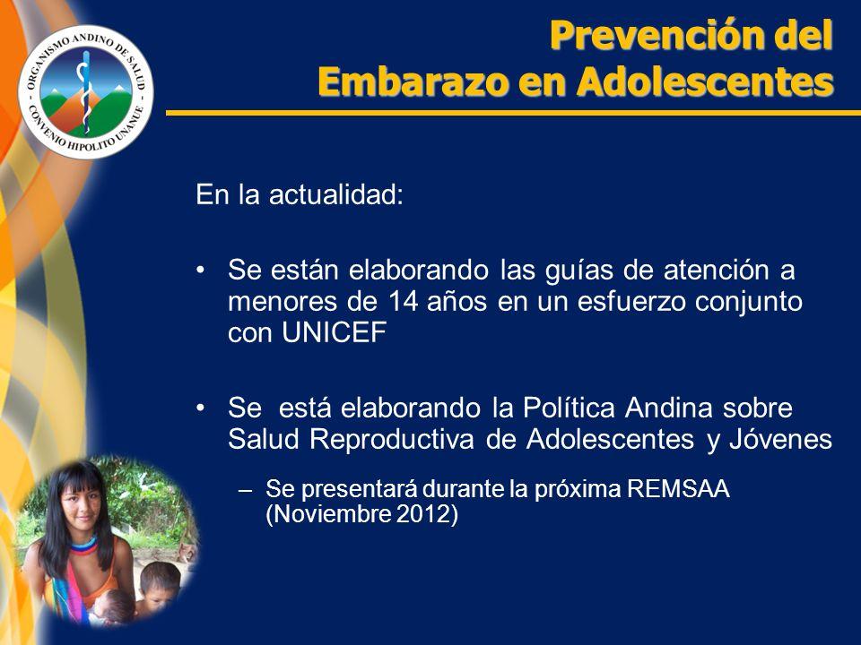 En la actualidad: Se están elaborando las guías de atención a menores de 14 años en un esfuerzo conjunto con UNICEF Se está elaborando la Política Andina sobre Salud Reproductiva de Adolescentes y Jóvenes –Se presentará durante la próxima REMSAA (Noviembre 2012) Prevención del Embarazo en Adolescentes