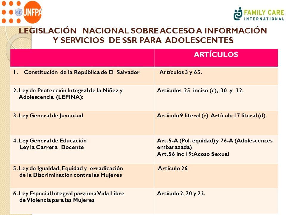 LEGISLACIÓN NACIONAL SOBRE ACCESO A INFORMACIÓN Y SERVICIOS DE SSR PARA ADOLESCENTES ARTÍCULOS 1.Constitución de la República de El Salvador Artículos