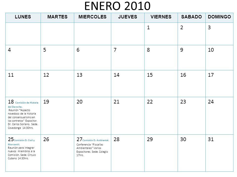 DICIEMBRE 2010 LUNESMARTESMIERCOLESJUEVESVIERNESSABADODOMINGO 12345 6 Comisión D.