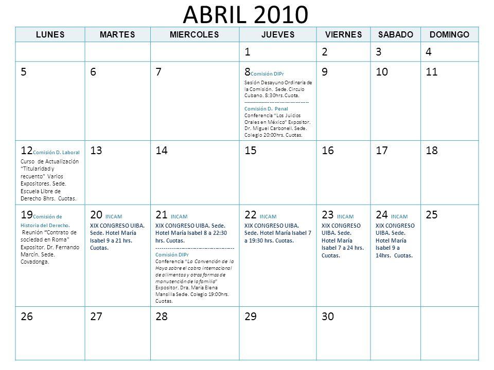 MAYO 2010 LUNESMARTESMIERCOLESJUEVESVIERNESSABADODOMINGO 12 3 Comisión D.