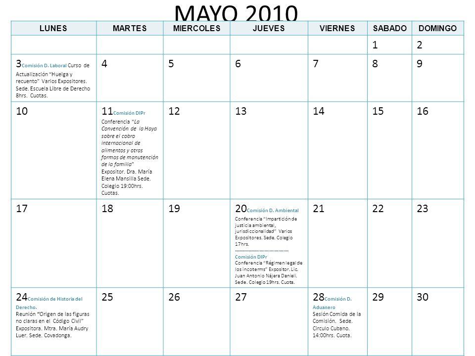 MAYO 2010 LUNESMARTESMIERCOLESJUEVESVIERNESSABADODOMINGO 12 3 Comisión D. Laboral Curso de Actualización Huelga y recuento Varios Expositores. Sede. E