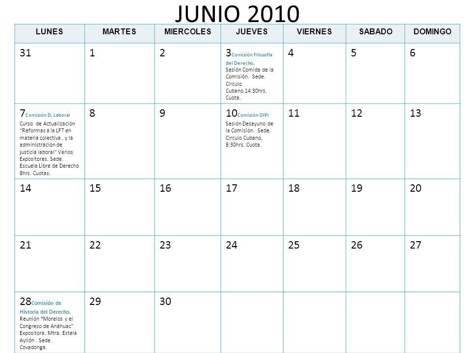 JUNIO 2010 LUNESMARTESMIERCOLESJUEVESVIERNESSABADODOMINGO 31123 Comisión Filosofía del Derecho. Sesión Comida de la Comisión. Sede. Circulo Cubano.14: