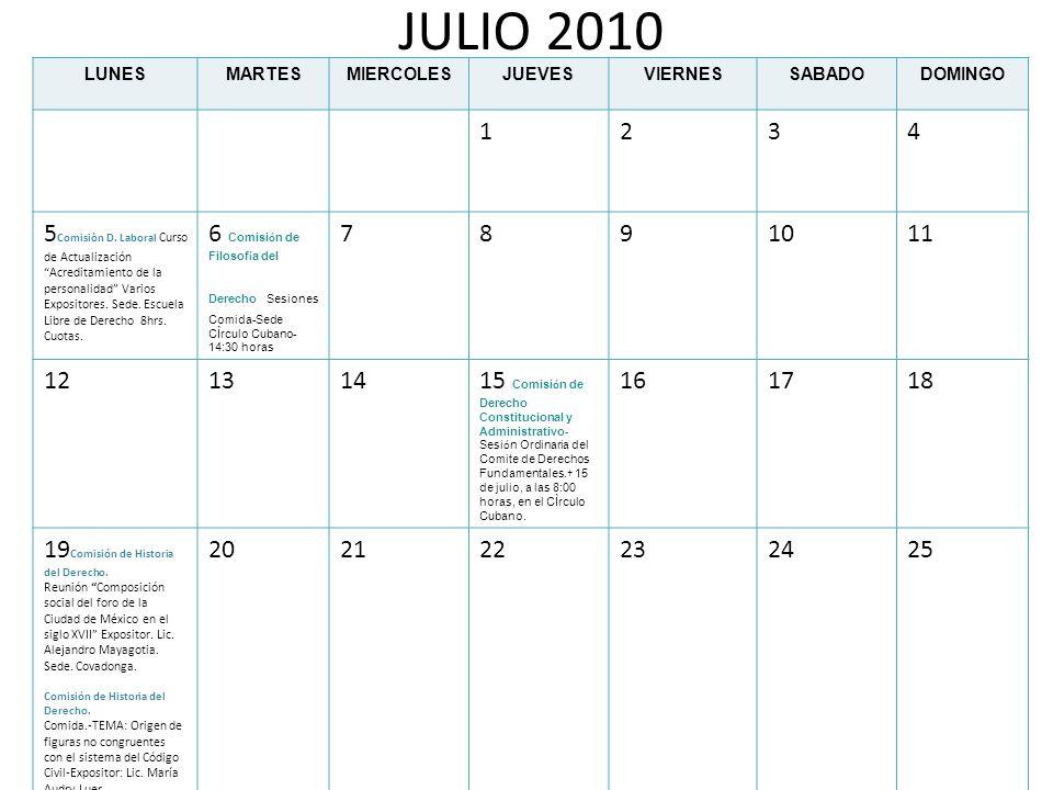 AGOSTO 2010 LUNESMARTESMIERCOLESJUEVESVIERNESSABADODOMINGO 1 23 Comisi ó n de Filosof í a del Derecho Sesiones Comida-Sede CÌrculo Cubano-14:30 horas 45678 9101112 Comisión DIPr Sesión Desayuno de la Comisión.