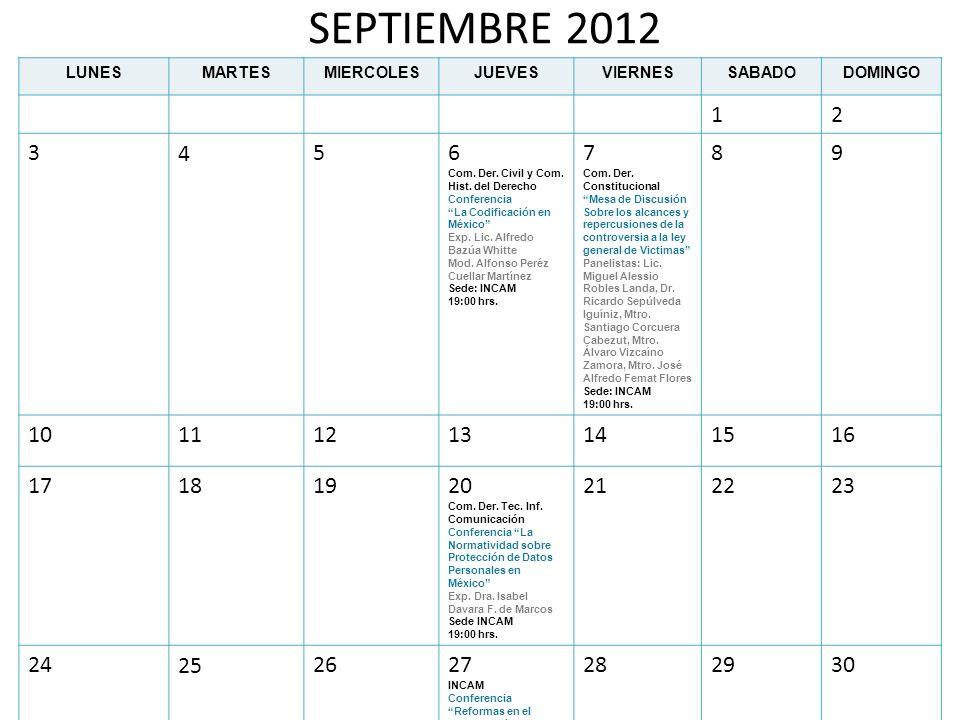 SEPTIEMBRE 2012 LUNESMARTESMIERCOLESJUEVESVIERNESSABADODOMINGO 12 3456 Com. Der. Civil y Com. Hist. del Derecho Conferencia La Codificación en México