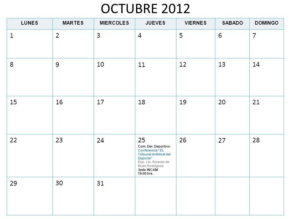 OCTUBRE 2012 LUNESMARTESMIERCOLESJUEVESVIERNESSABADODOMINGO 1234567 891011121314 15161718192021 22232425 Com. Der. Deportivo Conferencia EL Tribunal A