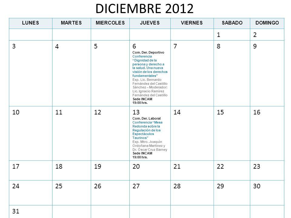 DICIEMBRE 2012 LUNESMARTESMIERCOLESJUEVESVIERNESSABADODOMINGO 12 3456 Com. Der. Deportivo Conferencia Dignidad de la persona y derecho a la salud. Una