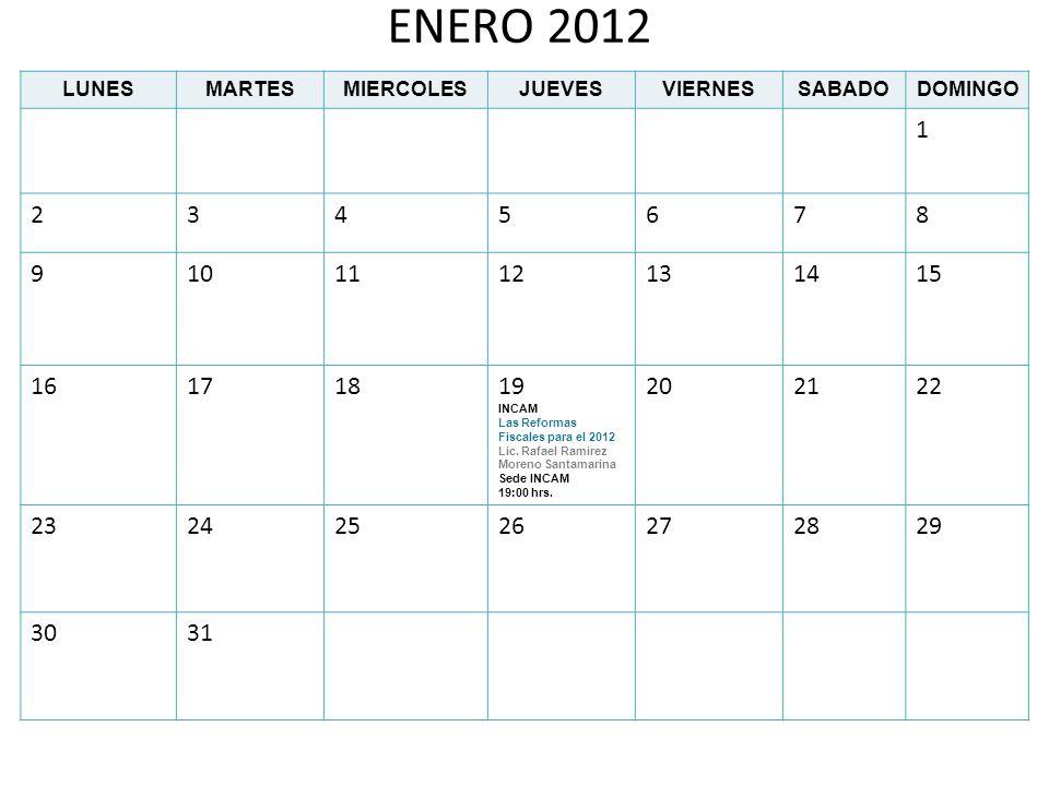 ENERO 2012 LUNESMARTESMIERCOLESJUEVESVIERNESSABADODOMINGO 1 2345678 9101112131415 16171819 INCAM Las Reformas Fiscales para el 2012 Lic. Rafael Ramire